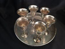 Gobblet silver plate SET shot glass vtg etched small six 6 India cordial wine