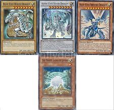 Azure-Eyes + Blue-Eyes White Dragon + Blue-Eyes Shining Dragon + White Stone NM