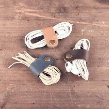 5x Handmade Cord Organizer Headphone Clip Holder Cable Leather Wire Ties USB