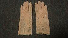 "Vintage Pair Of Vintage Women Woven Gloves Pink 8"" Long"