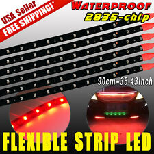 6x Red 90CM 45LED Strip Underbody Light DRL Brake Car Motor Decor 12V Waterproof