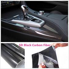 "15""x40"" 5D Ultra Shiny Gloss Glossy Black Carbon Fiber Vinyl Wrap Sticker Decals"