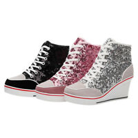 Jd_uk Womens Glitter Wedge Heel Lace Up Suede Sneakers Ankle High Boots Shoes XX