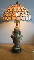 Rare Chinese Ancient Jade Dragon Vase And Mother Of Pearl Lampshade Table Lamp