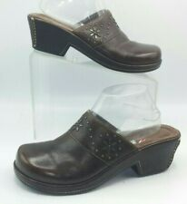 "White Mountain Clogs 9.5 Brown Leather Mules Slip-On Shoes ""Penza"" Studs Womens"