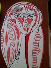 dessin au feutre et peinture d'une femme cubiste
