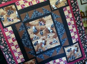 Motorcycle Lap Quilt/Motorcycle Throw/Motorcycle Bedding/Fire Flames Quilting