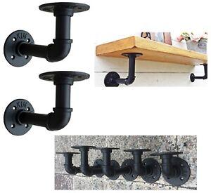 Set2 Shelves Brackets Industrial Antique Pipe Black Cast Iron Wall Hanging Shelf