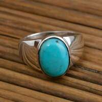 925 Sterling Silver Handmade Turquoise Gemstone Ring Men's Ring Jewelry Z11