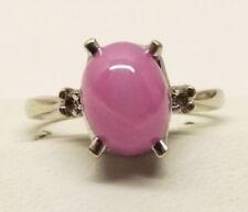 Vtg 14K White Gold Pink Star Sapphire Ring Diamond Sz 5.75 Estate Cabochon