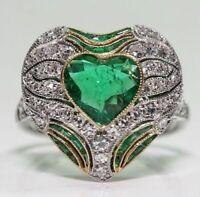 Ring Women Men White Topaz Huge Heart Emerald Jewelry Size 6-10