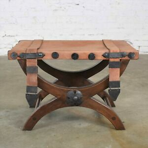 Spanish Revival Curule Foot Stool Ottoman w/ Leather Seat & Straps by Artes De M