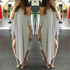 Plus Size Women Off Shoulder Striped Summer Casual Beach Loose Long Maxi Dress G