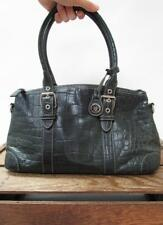 DOONEY & BOURKE Charcoal Black Croc Print Leather Small Boston Bag Tote Purse