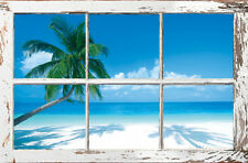Tropical Beach Window Poster Print, 36x24