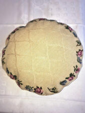 unique Round hand made with wool Tapestry  Pillow Beige w/roses -damask back 13""