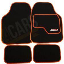 4 x Black Car Carpet Floor Mats with Orange Trim fits Citroen C1 C2 C3 C4 Saxo
