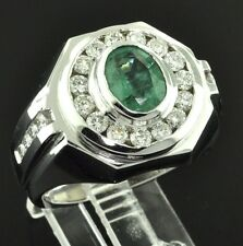 4.00ct 14k Solid White Gold Men's Natural Diamond & Oval Colombian Emerald Ring