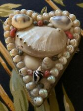 Victorian Sailor Shell Folk Art Heart Yours Affectionate Pin Cushion