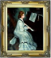 Framed, Pierre Renoir Lady at the Piano Repro, Hand Painted Oil Painting 20x24in