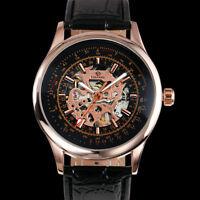 Mens Watch Mechanical Hand-winding Black Leather Strap Analog Display Luxury