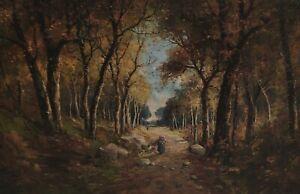 Signed Franz Van - Holzsammlerin on A Forest Road