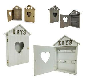 Cassetta portachiavi da parete in legno 6 posti shabby Casa cuore porta chiavi