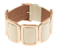 BRONZO ITALIA ROSE BRONZE LARGE CUSHION STATION LEATHER BUCKLE BRACELET QVC