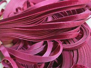 """Vintage 1/4"""" Bordeaux Wine Velvet Ribbon Trim Edging 5yds Made in Switzerland"""