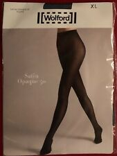 Wolford Satin Opaque 50 Tights Pantyhose Extra Large Iron Blue