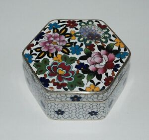 Attractive Japanese Cloisonne Enamel Hexagon Shaped Box by Inaba