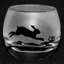 *HARE* Boxed CRYSTAL GLASS TEA LIGHT CANDLE HOLDER