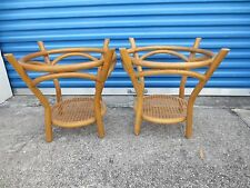 Pair Bamboo End Tables Side Hollywood Regency Round Rattan Mid-century Modern
