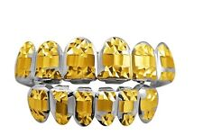 Hip Hop Bling Diamond Cut Two Tone Fat Cuts Gold and Silver Grillz Grill