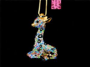 Betsey Johnson Colorful Enamel Crystal Giraffe Pendant Sweater Chain Necklace