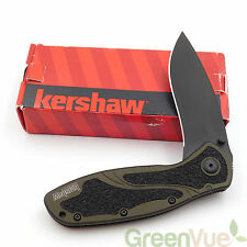 "Kershaw 1670OLBLK Ken Onion Blur Folding Knife Olive & Black Handle w/3.4"" Blade"