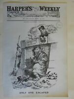 Teddy Roosevelt Hunting the Tammany Tiger Corruption New York City 1905 print