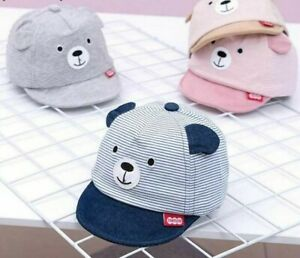 Baby Hat Cap Summer Spring Cartoon Bear Striped Cotton Kids Adjustable With Ears