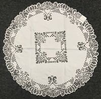 """Solid White Wedding Embroidered Cutwork Embroidery Fabric 33"""" Round Tablecloth"""