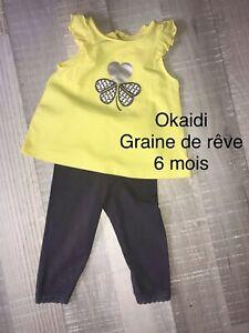 Okaidi Graine De Rêve 6 MOIS : Top Jaune + Legging Été TBE