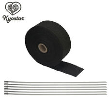 """2"""" 50Ft Exhaust Manifold Header Pipe Heat Wrap Tape with 6 Steel Clamps 2 Rolls"""