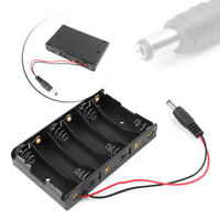 New Black 6 x AA 9V Battery Holder Box Case Wire DC 5.5*2.1mm Plug for Arduino