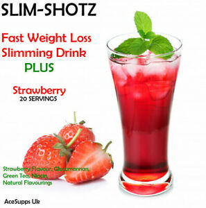 SLIMMING STRAWBERRY SLIM-SHOTS BOOSTER JUICE DRINK PLUS WEIGHT LOSS FAT BURNER