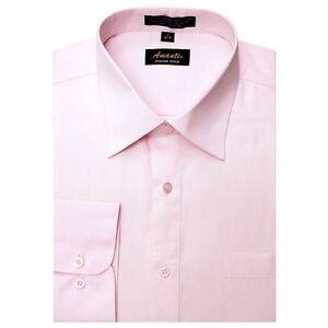 Mens Dress Shirt Plain Pink Modern Fit Wrinkle-Free Cotton Blend Amanti