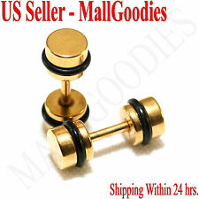 2091 Fake Cheater Illusion Faux Ear Plugs 16G Surgical Steel 4G 5mm Gold Small