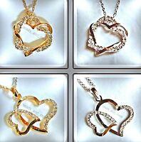 Kristall Anhänger Verschlungene Herzen oder Herz an Herz Kette vergoldet