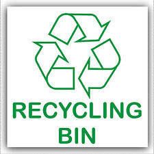 1 x Recycling Waste Bin Self Adhesive Sticker Printed Recycle Logo Sign Wheelie