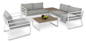 diVolio Gartenmöbel Set AVOLA Gartencouch Sitzecke Sessel Tisch in Weiss/Grau