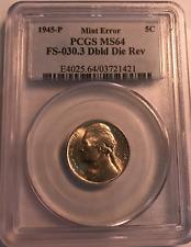 1945-P Jefferson Pcgs Ms64 Fs-030.3 Double Die Reverse Variety