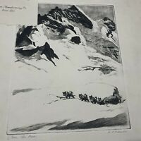 """ETCHING PRINT """"OVER THE PASS"""" SIGNED BY R H PALENSKE"""